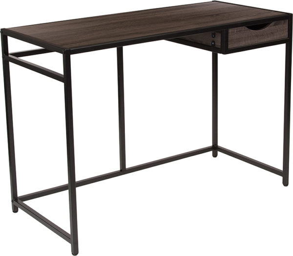 Wholesale Homewood Collection Driftwood Finish Computer Desk with Pull-Out Drawer and Black Metal Frame