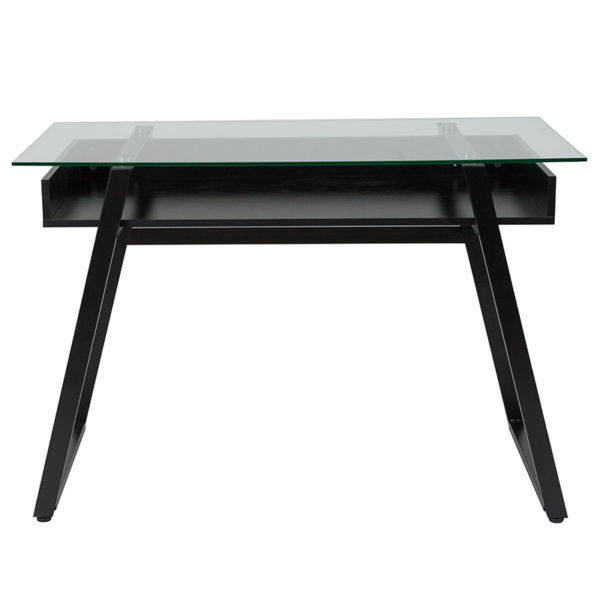 Lowest Price Huntley Glass Computer Desk with Shelf and Black Metal Legs