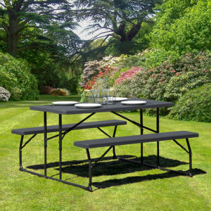 Wholesale Insta-Fold Charcoal Wood Grain Folding Picnic Table and Benches