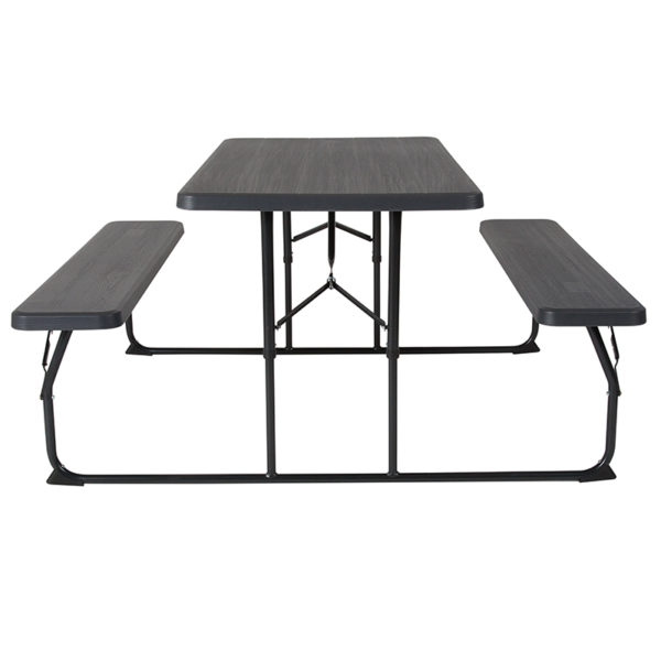 Table and Bench Seating Charcoal Picnic Table/Bench