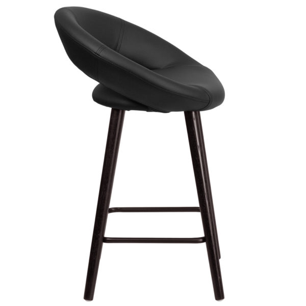 Lowest Price Kelsey Series 24'' High Contemporary Cappuccino Wood Counter Height Stool in Black Vinyl