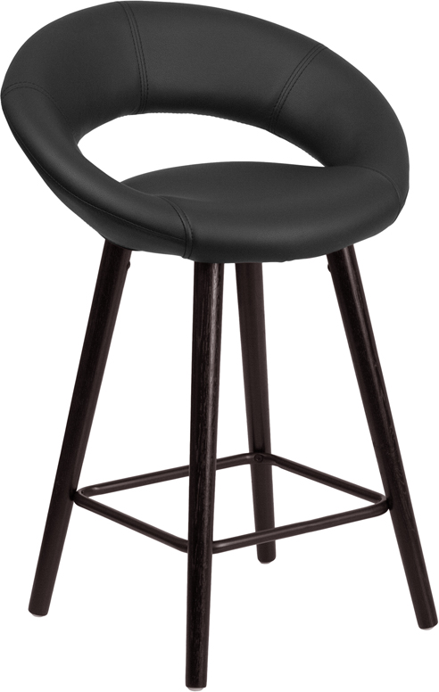 Wholesale Kelsey Series 24'' High Contemporary Cappuccino Wood Counter Height Stool in Black Vinyl
