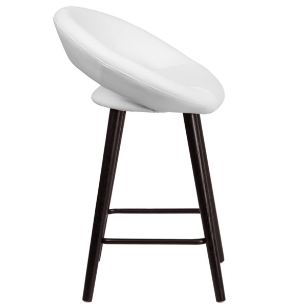 Lowest Price Kelsey Series 24'' High Contemporary Cappuccino Wood Counter Height Stool in White Vinyl