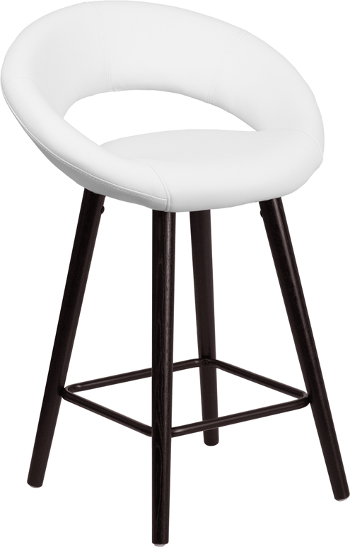 Wholesale Kelsey Series 24'' High Contemporary Cappuccino Wood Counter Height Stool in White Vinyl