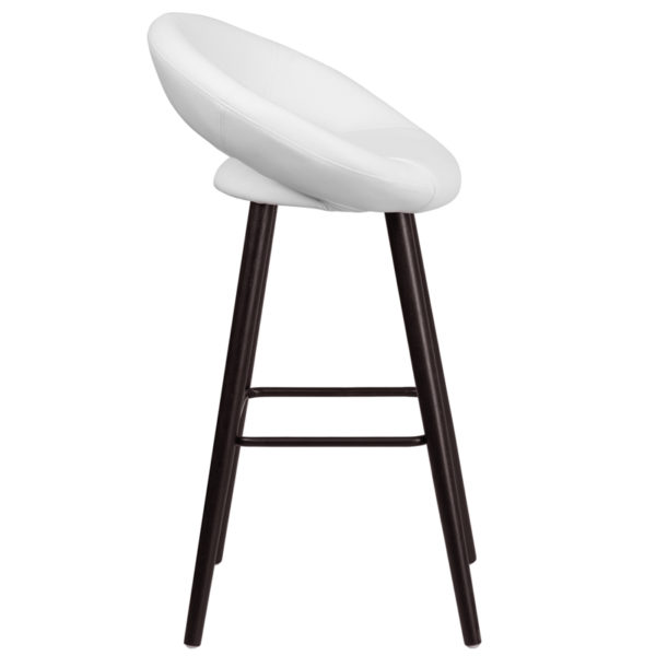 Lowest Price Kelsey Series 29'' High Contemporary Cappuccino Wood Barstool in White Vinyl