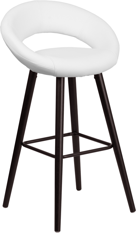 Wholesale Kelsey Series 29'' High Contemporary Cappuccino Wood Barstool in White Vinyl