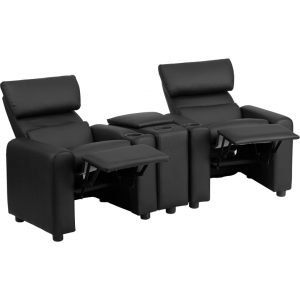 Wholesale Kid's Black Leather Reclining Theater Seating with Storage Console