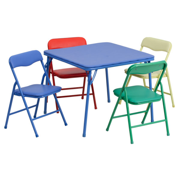Wholesale Kids Colorful 5 Piece Folding Table and Chair Set