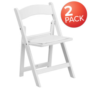 Wholesale Kids Folding Chairs with Padded Seats | Set of 2 White Resin Folding Chair with Vinyl Padded Seat for Kids