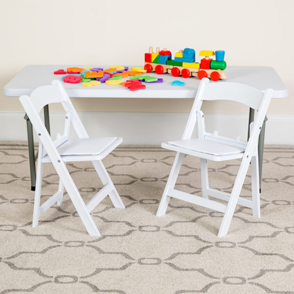 Lowest Price Kids White Resin Folding Chair with White Vinyl Padded Seat