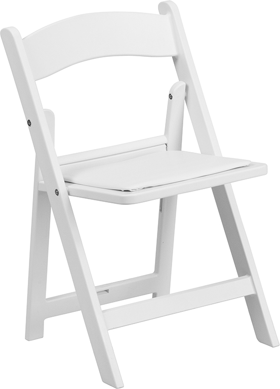 Wholesale Kids White Resin Folding Chair with White Vinyl Padded Seat