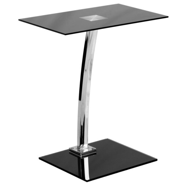 Lowest Price Laptop Computer Desk with Silk Black Tempered Glass Top