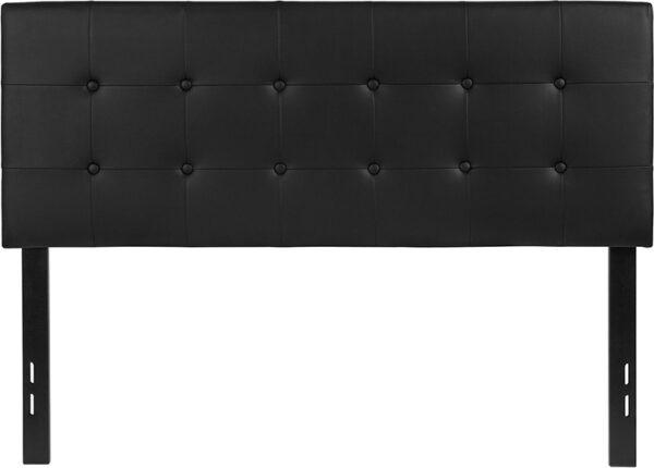 Lowest Price Lennox Tufted Upholstered Full Size Headboard in Black Vinyl