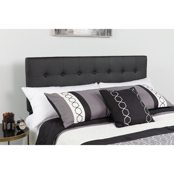 Wholesale Lennox Tufted Upholstered Full Size Headboard in Black Vinyl