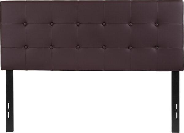Lowest Price Lennox Tufted Upholstered Full Size Headboard in Brown Vinyl