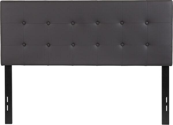 Lowest Price Lennox Tufted Upholstered Full Size Headboard in Gray Vinyl