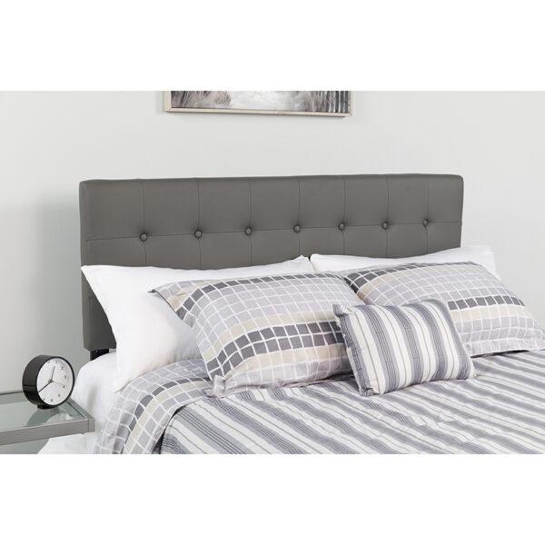 Wholesale Lennox Tufted Upholstered Full Size Headboard in Gray Vinyl