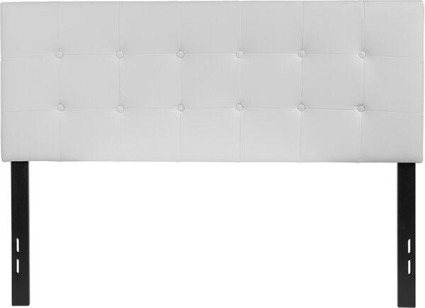 Lowest Price Lennox Tufted Upholstered Full Size Headboard in White Vinyl
