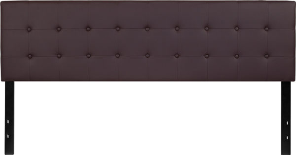Lowest Price Lennox Tufted Upholstered King Size Headboard in Brown Vinyl