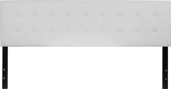 Lowest Price Lennox Tufted Upholstered King Size Headboard in White Vinyl