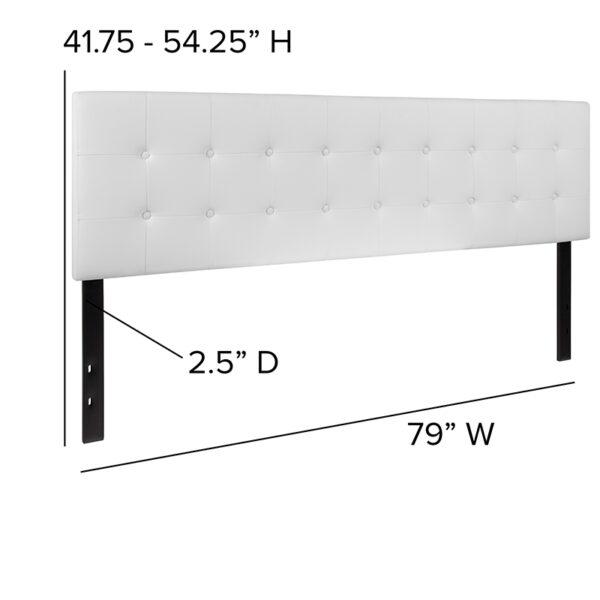 Contemporary Style King Headboard-White Vinyl