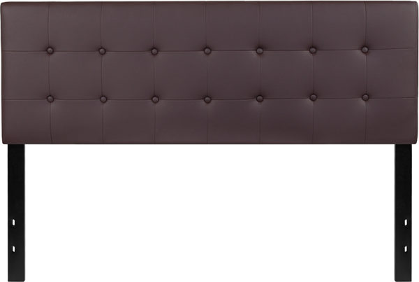 Lowest Price Lennox Tufted Upholstered Queen Size Headboard in Brown Vinyl