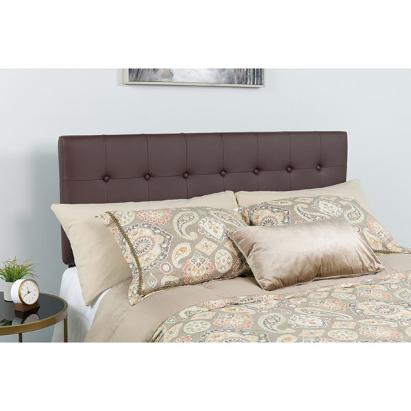 Wholesale Lennox Tufted Upholstered Queen Size Headboard in Brown Vinyl