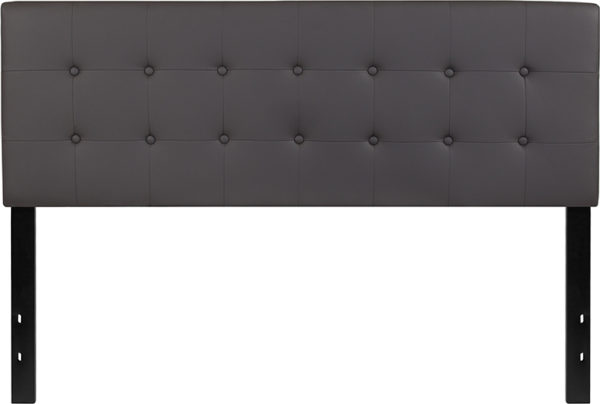 Lowest Price Lennox Tufted Upholstered Queen Size Headboard in Gray Vinyl