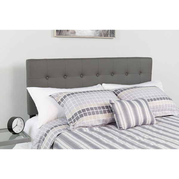 Wholesale Lennox Tufted Upholstered Queen Size Headboard in Gray Vinyl