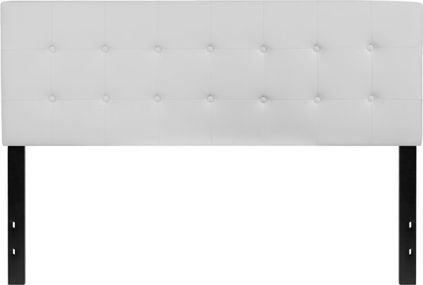 Lowest Price Lennox Tufted Upholstered Queen Size Headboard in White Vinyl