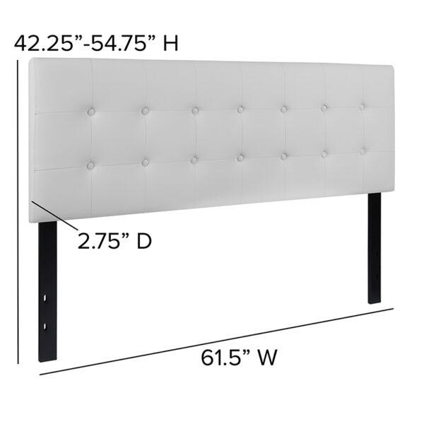 Contemporary Style Queen Headboard-White Vinyl