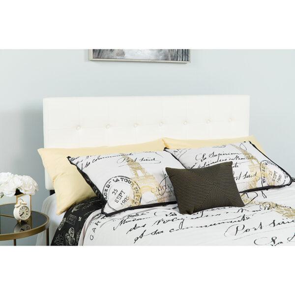 Wholesale Lennox Tufted Upholstered Queen Size Headboard in White Vinyl