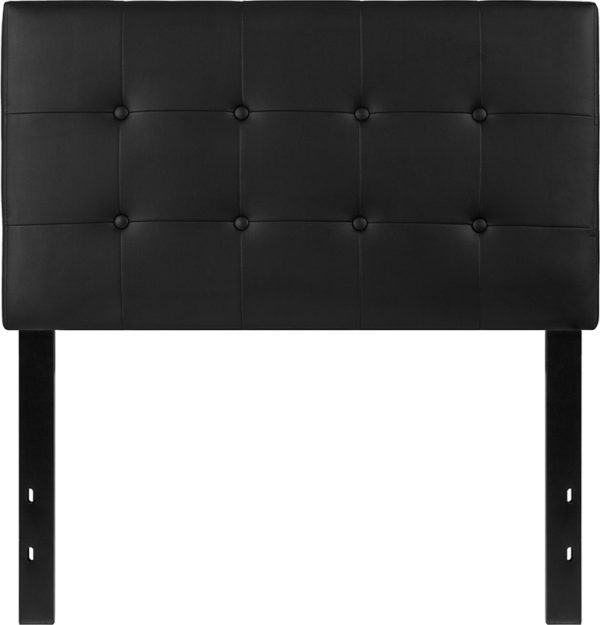 Lowest Price Lennox Tufted Upholstered Twin Size Headboard in Black Vinyl