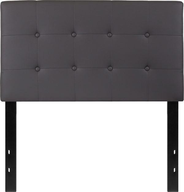 Lowest Price Lennox Tufted Upholstered Twin Size Headboard in Gray Vinyl