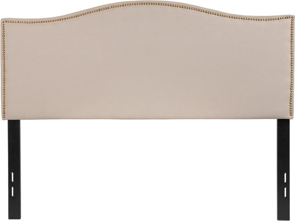 Lowest Price Lexington Upholstered Full Size Headboard with Accent Nail Trim in Beige Fabric