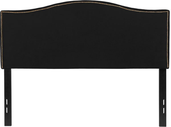 Lowest Price Lexington Upholstered Full Size Headboard with Accent Nail Trim in Black Fabric