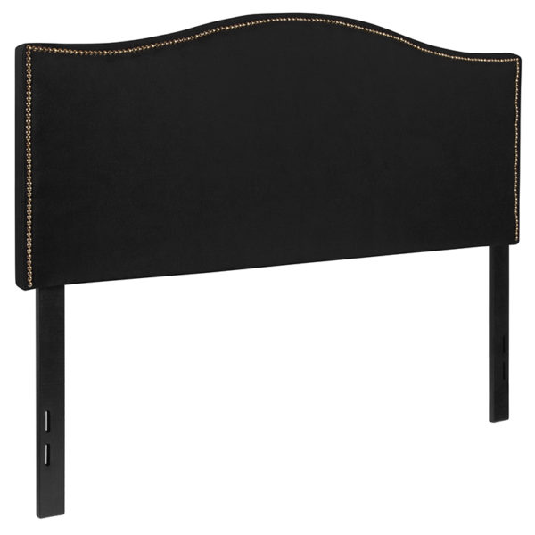 Transitional Style Full Headboard-Black Fabric