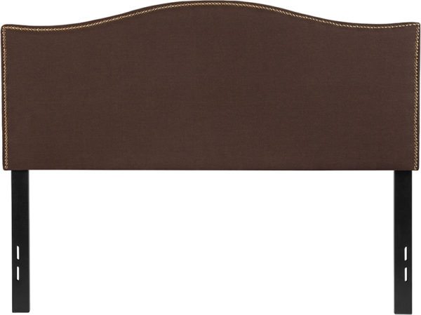 Lowest Price Lexington Upholstered Full Size Headboard with Accent Nail Trim in Dark Brown Fabric