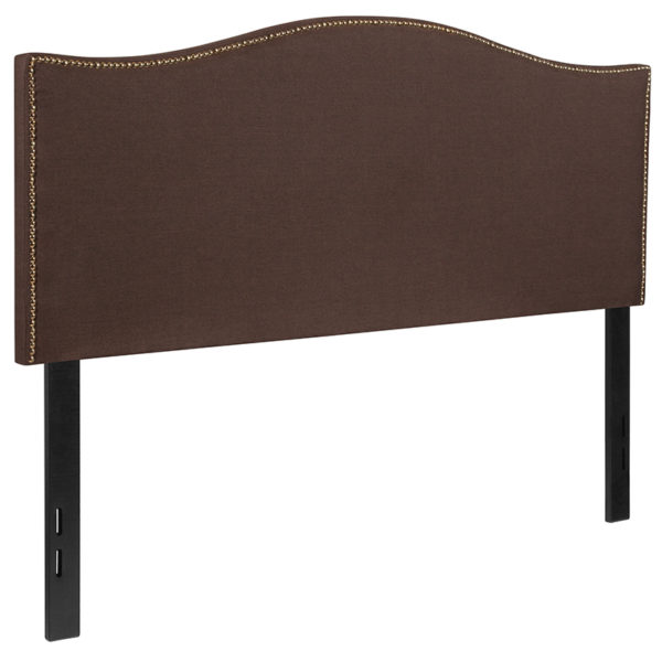 Transitional Style Full Headboard-Brown Fabric