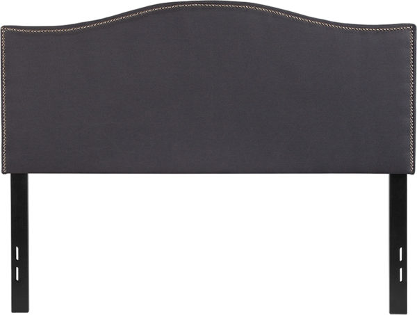 Lowest Price Lexington Upholstered Full Size Headboard with Accent Nail Trim in Dark Gray Fabric