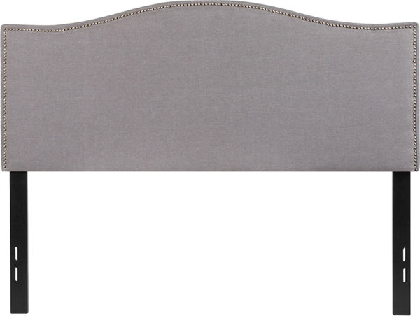 Lowest Price Lexington Upholstered Full Size Headboard with Accent Nail Trim in Light Gray Fabric