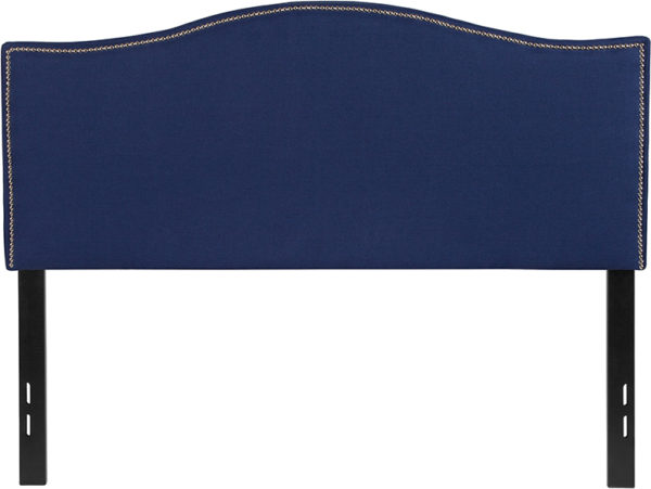 Lowest Price Lexington Upholstered Full Size Headboard with Accent Nail Trim in Navy Fabric