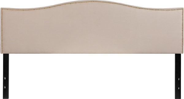 Lowest Price Lexington Upholstered King Size Headboard with Accent Nail Trim in Beige Fabric
