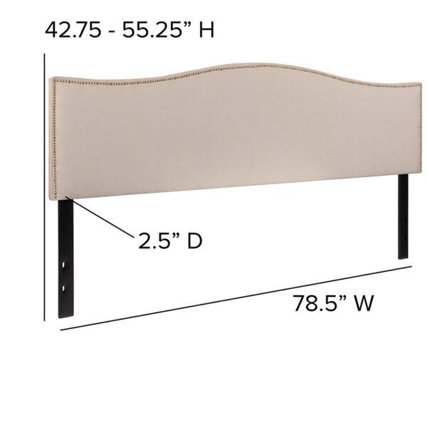 Transitional Style King Headboard-Beige Fabric