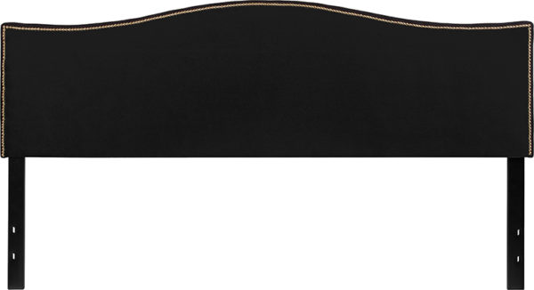 Lowest Price Lexington Upholstered King Size Headboard with Accent Nail Trim in Black Fabric