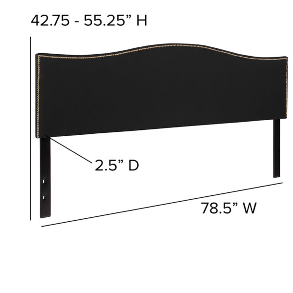 Transitional Style King Headboard-Black Fabric