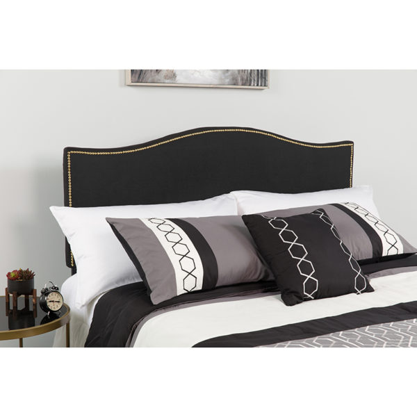 Wholesale Lexington Upholstered King Size Headboard with Accent Nail Trim in Black Fabric