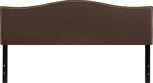 Lowest Price Lexington Upholstered King Size Headboard with Accent Nail Trim in Dark Brown Fabric