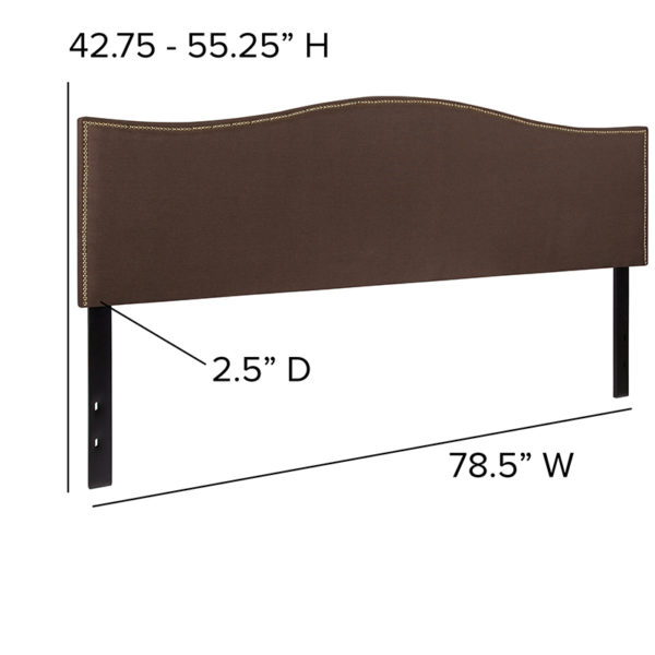 Transitional Style King Headboard-Brown Fabric