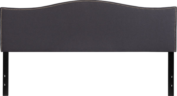 Lowest Price Lexington Upholstered King Size Headboard with Accent Nail Trim in Dark Gray Fabric